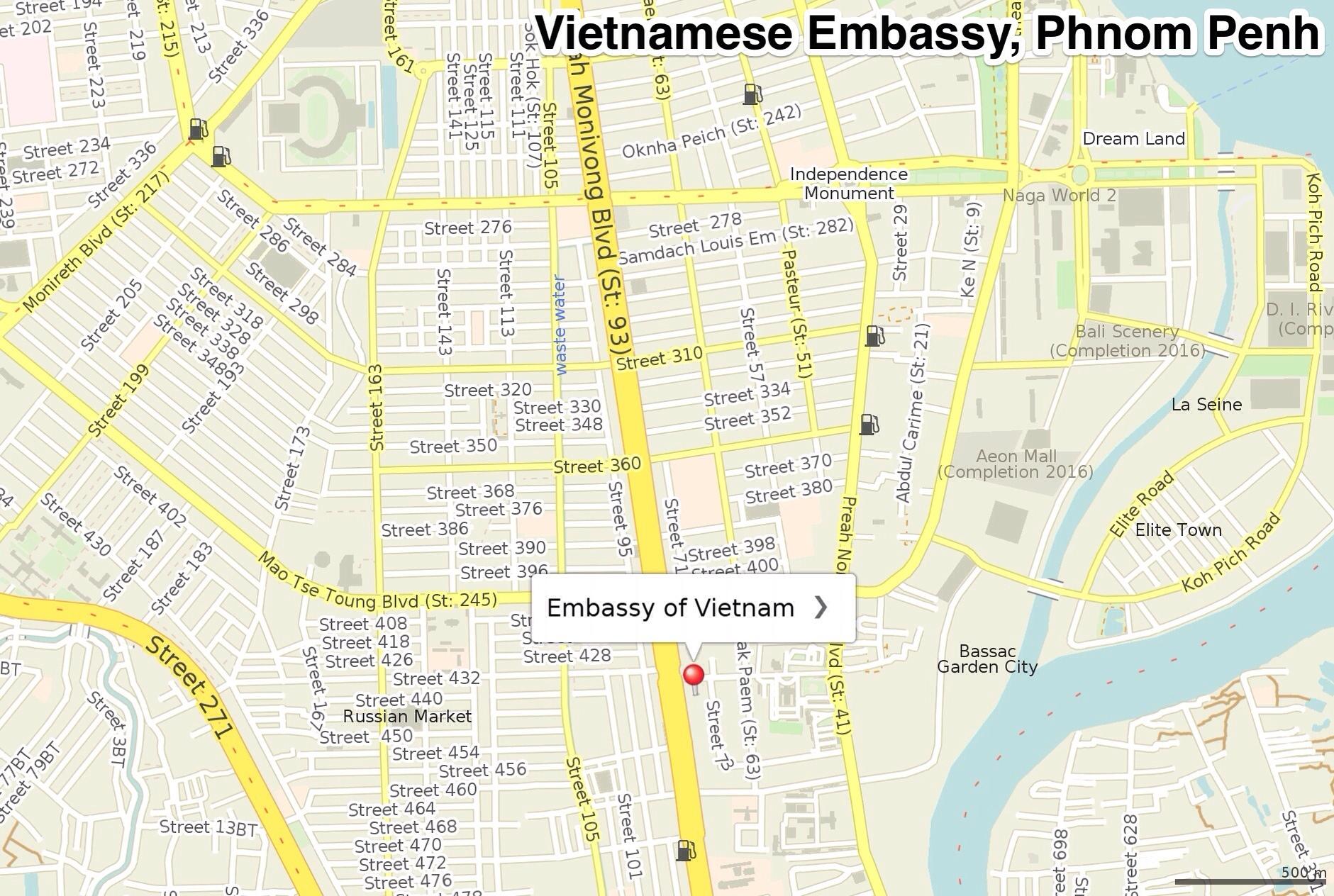 Vietnamese embassy map Phnom Penh