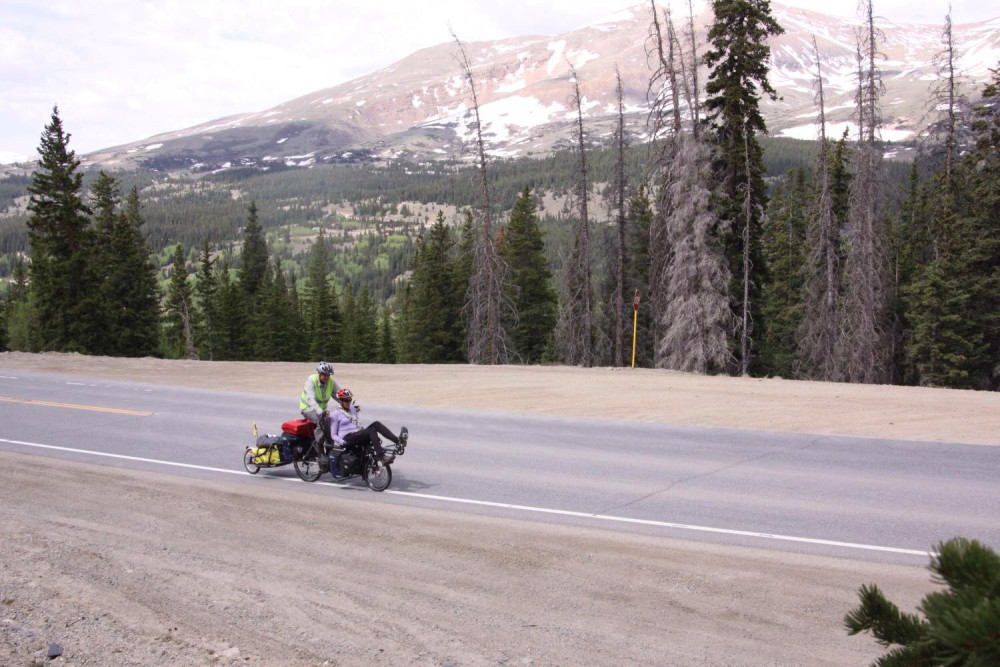 Mark and Julie cycling the Hoosier Pass in Colorado. Photo: Thane
