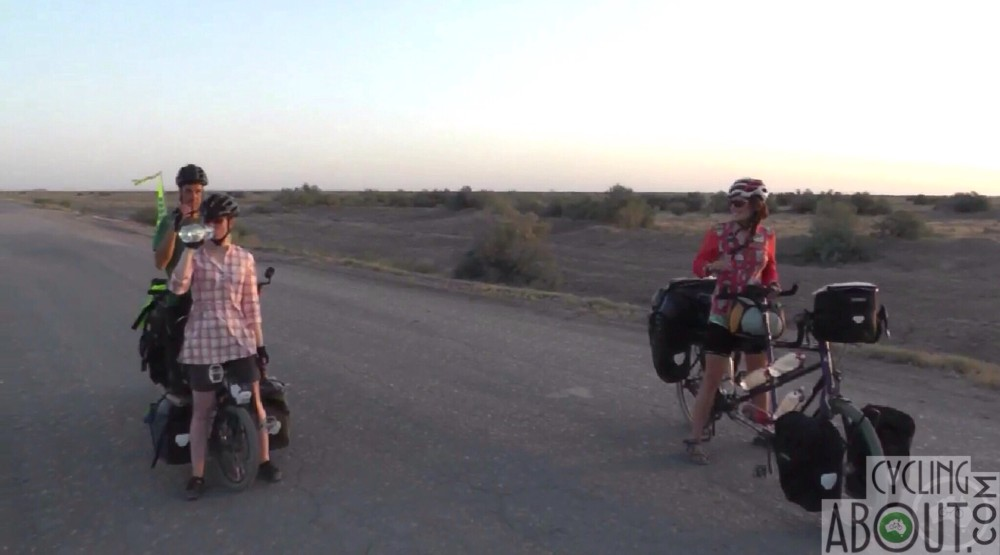 Cycling with Marcel and Alena in Turkmenistan.