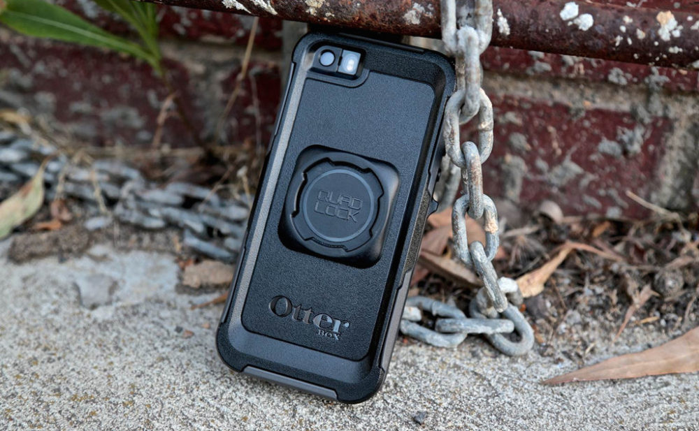 Using the Quadlock Universal Mount, you can ride with an Otterbox case.