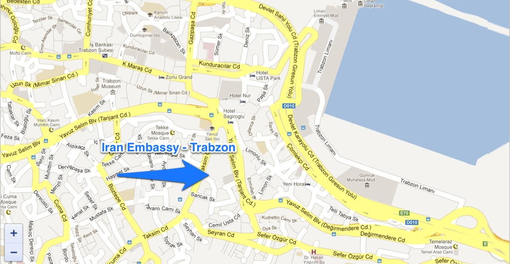 Iran embassy consulate map Trabzon