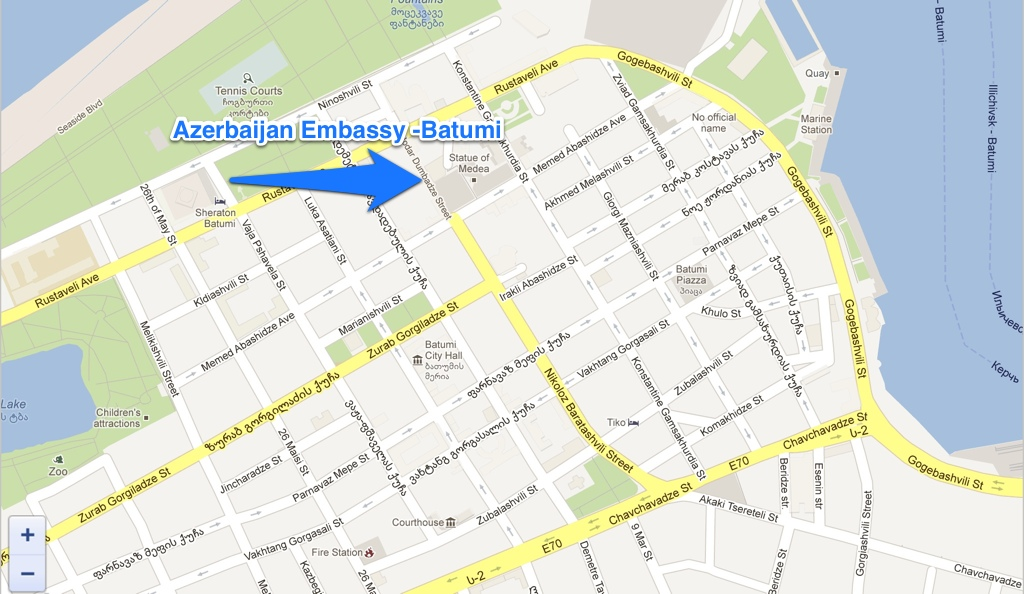 Azerbaijan embassy consulate batumi map