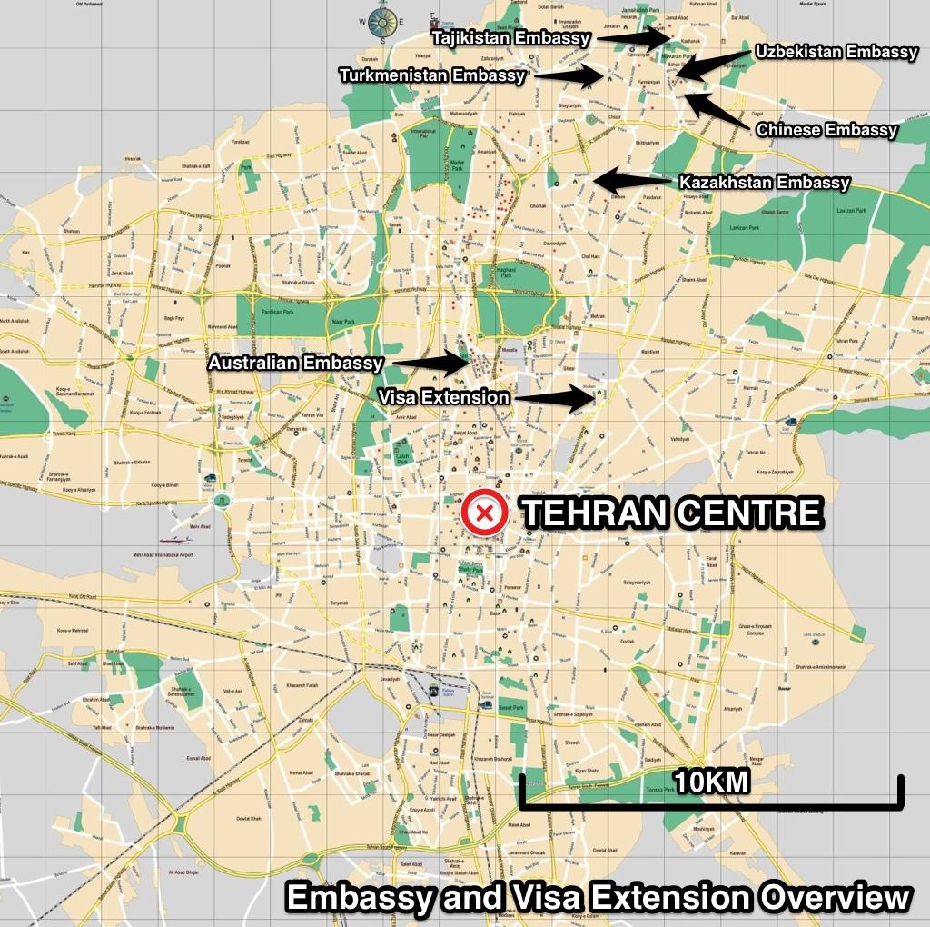 Tehran embassy map