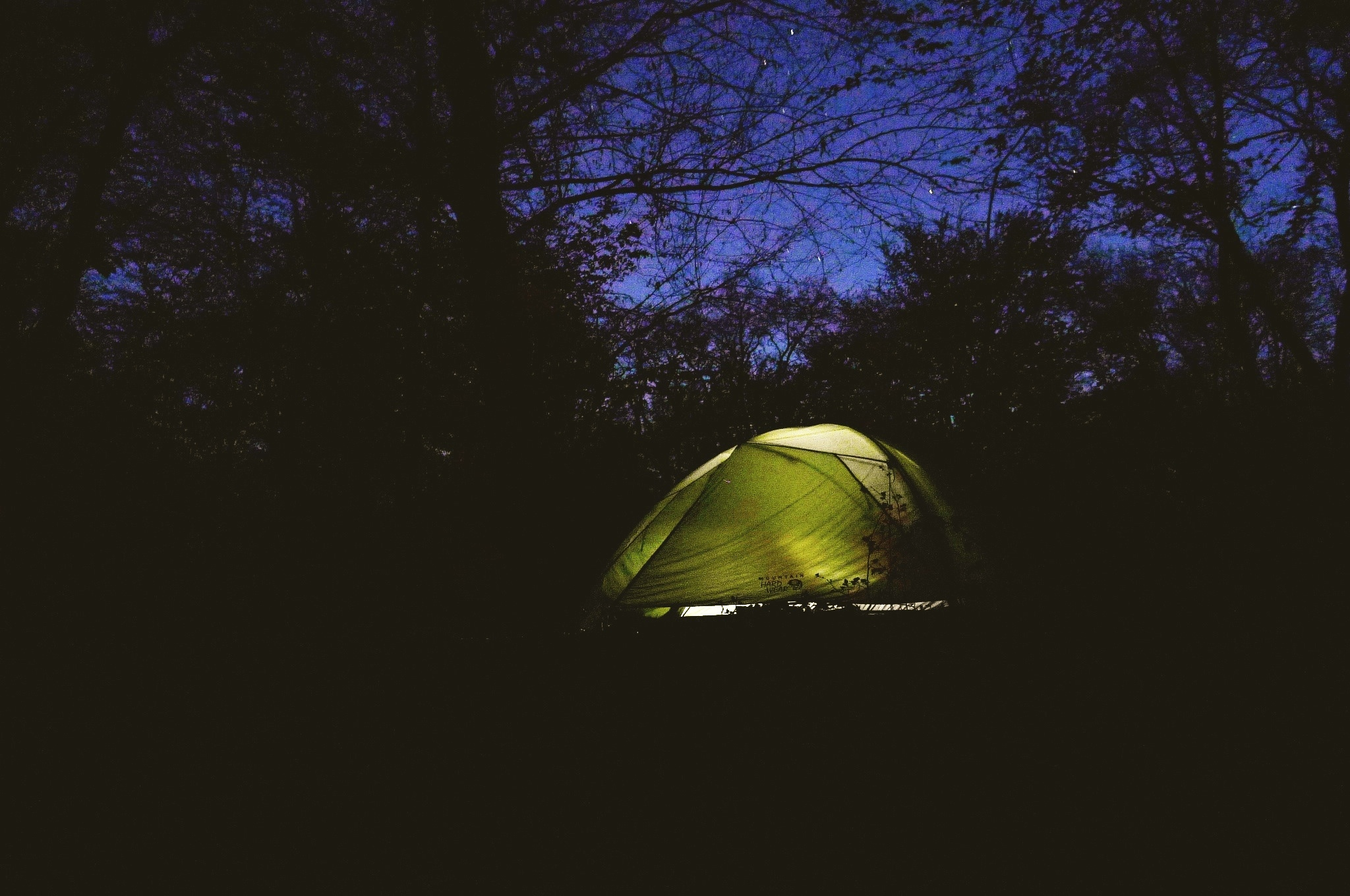 In our Mountain hardwear skyledge 3 tent, camping at night in Azerbaijan
