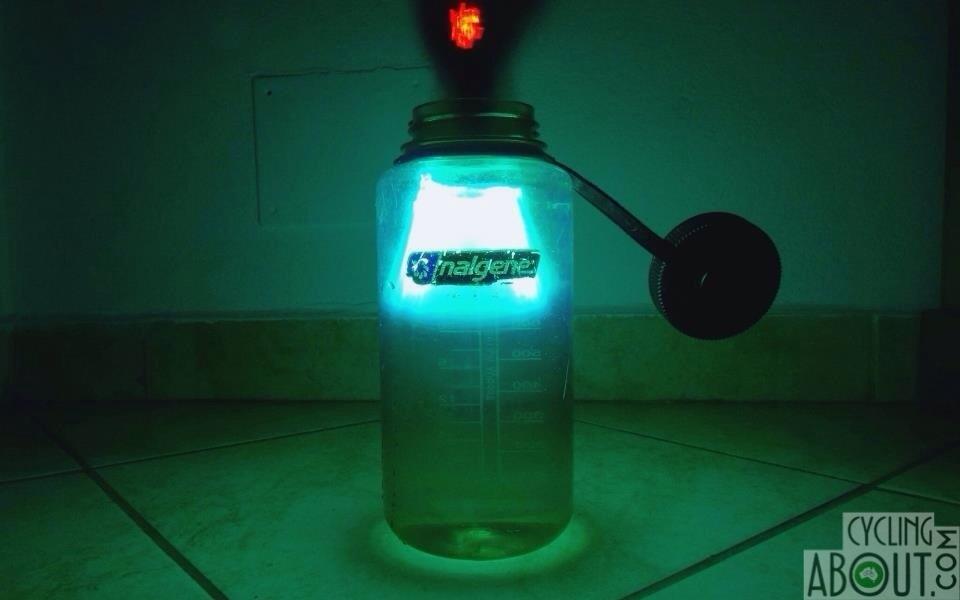 Steripen adventurer Opti uv water filter in action at night.