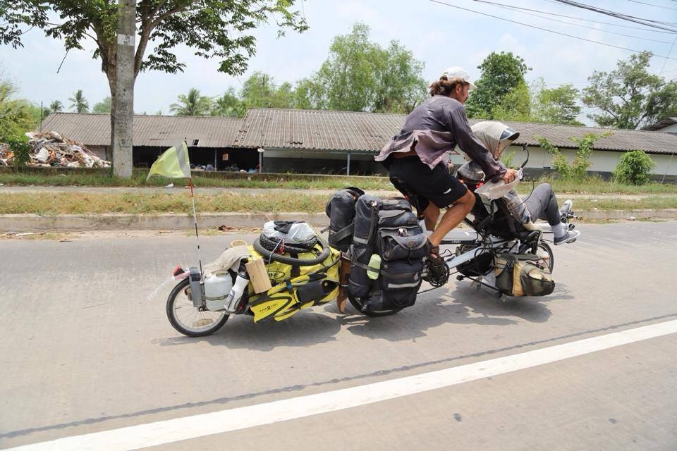 Keith and Tamar cycling in Thailand. Photo: Nares Chookird