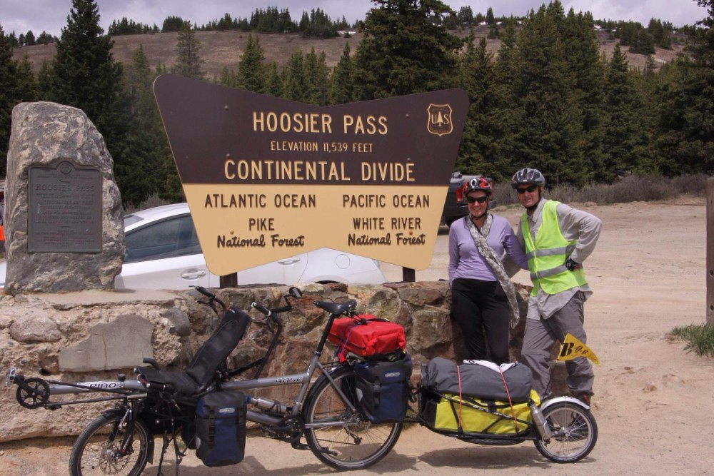 Julie and Mark at the top of Hoosier Pass in Colorado. Photo: Thane