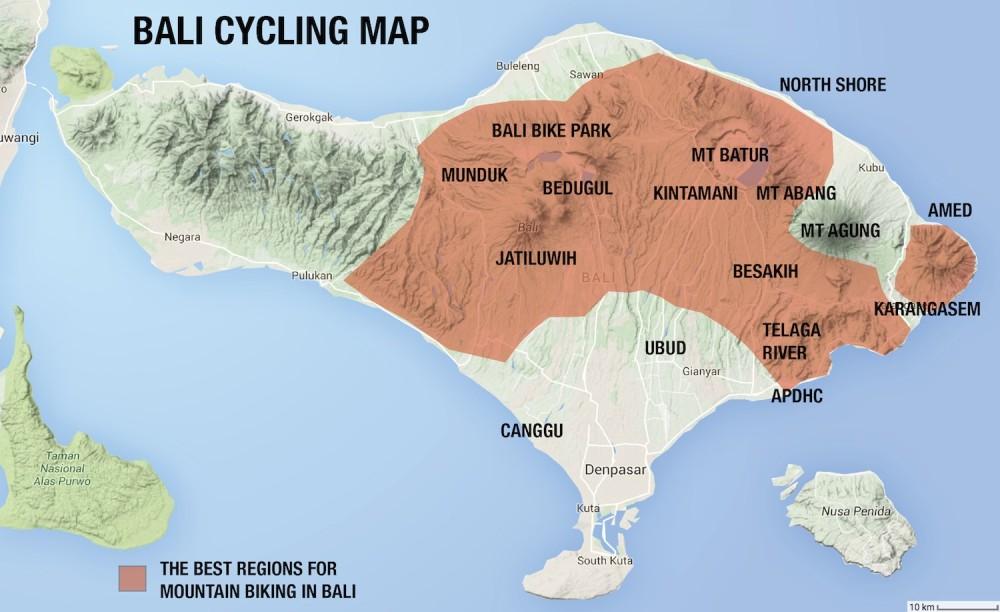 Bali Mountain Biking Map